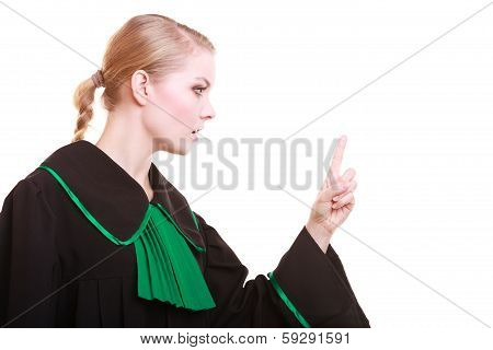 Female Lawyer Classic Polish Gown Wagging Her Finger Scolding