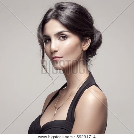 Fashion Portrait Of Beautiful Woman With Jewelry.