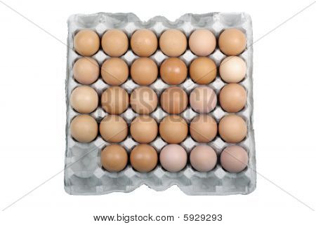 Eggs In Safety Package Isolated On White Background.