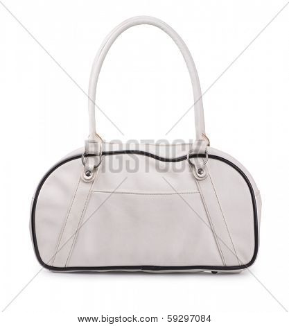 White leather sport bag isolated on white