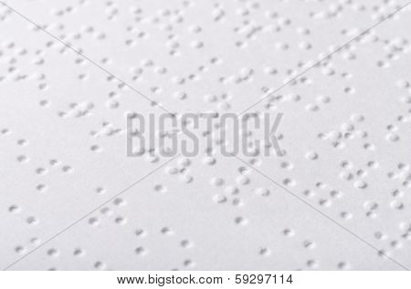 Close up of paper page  with braille text