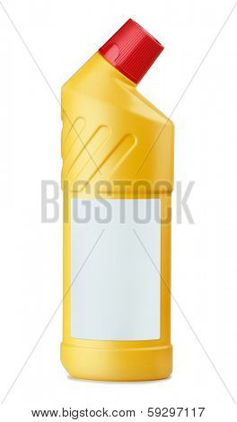 Yellow plastic bottle of WC cleaner with blank label