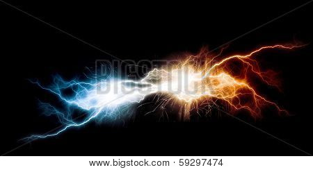 Conceptual image with flash of lightning against dark background
