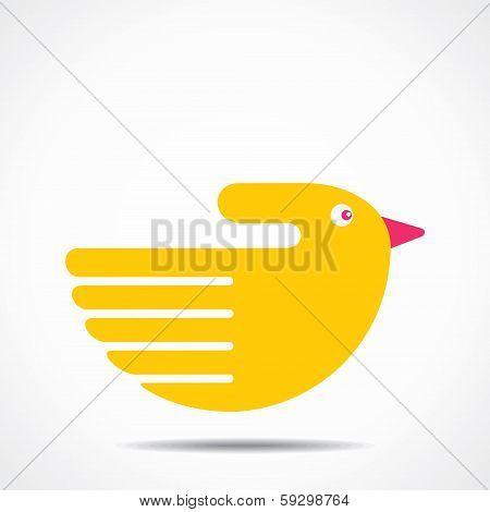 creative hand yellow bird design
