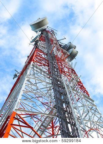 High Microwave Mobile Pole Station With Blue Sky