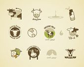 stock photo of cow  - Milk and cow Labels - JPG
