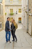 Quebec City, Canada - inter ethnic couple of tourist visiting old town
