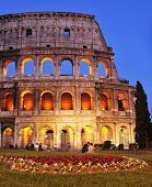 ROME, ITALY - APRIL 17: The Coliseum at twilight on April 17, 2013 in Rome, Italy. The Coliseum is a