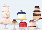 foto of cake stand  - Vector fancy cakes collection over blue background - JPG
