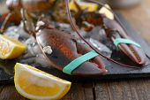 foto of claw  - Clawed lobster on a table before cooking - JPG