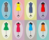 image of friendship belt  - Different vintage dresses on a mannequin - JPG