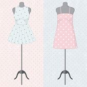 stock photo of dress mannequin  - Different vintage dresses on a mannequin - JPG