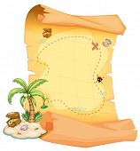 stock photo of landforms  - Illustration of a big treasure map and an island on a white background - JPG