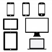 pic of screen  - set of electronic devices with white blank screens - JPG
