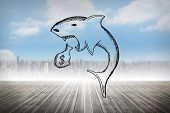 picture of loan-shark  - Loan shark doodle against cityscape on the horizon - JPG
