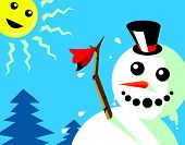 stock photo of say goodbye  - a snowman was saying goodbye to the sun sign of summer arrives - JPG