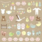 image of stork  - Set of baby shower elements - JPG