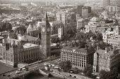 pic of victorian houses  - Big Ben and House of Parliament in London viewed from above - JPG