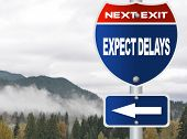 foto of expectations  - Expect delays road sign - JPG