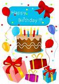 stock photo of birthday-cake  - Happy birthday card with birthday cake and presents - JPG