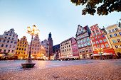 Wroclaw, Poland. The market square with colorful historical buildings at the evening. Silesia region