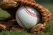 pic of competition  - New Baseball in a Glove in the Outfield - JPG