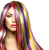 stock photo of color  - Colorful Hair and Makeup - JPG