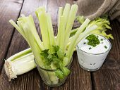 stock photo of crudites  - Celery Sticks in a glass  - JPG