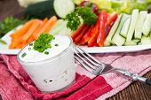 foto of crudites  - Mixed Crudites (Celery Cucumber Carrot and Red Pepper) with Dip