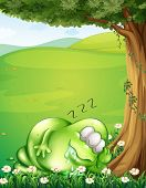 Illustration of a hilltop with a monster sleeping under the tree