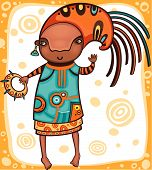pic of african american hair styles  - Colorful portrait of the dancing African girl with ethnic musical instrument - JPG