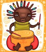 pic of reggae  - Colorful portrait of the African drummer with dreadlocks - JPG