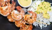 image of tiger prawn  - Skewered Tiger Prawns with a portion of fresh Rice - JPG