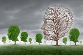 stock photo of pain-tree  - Human death and grief as loss of a loved one concept with a group of trees shaped as a head and one tree with no leaves as a metaphor for community support for greiving victims of disease and aging illness - JPG