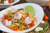 stock photo of thai cuisine  - green papaya salad thai food Thai cuisine  - JPG