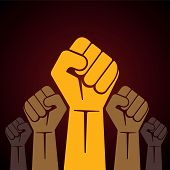 stock photo of revolt  - illustration of clenched fist held high in protest stock vector - JPG