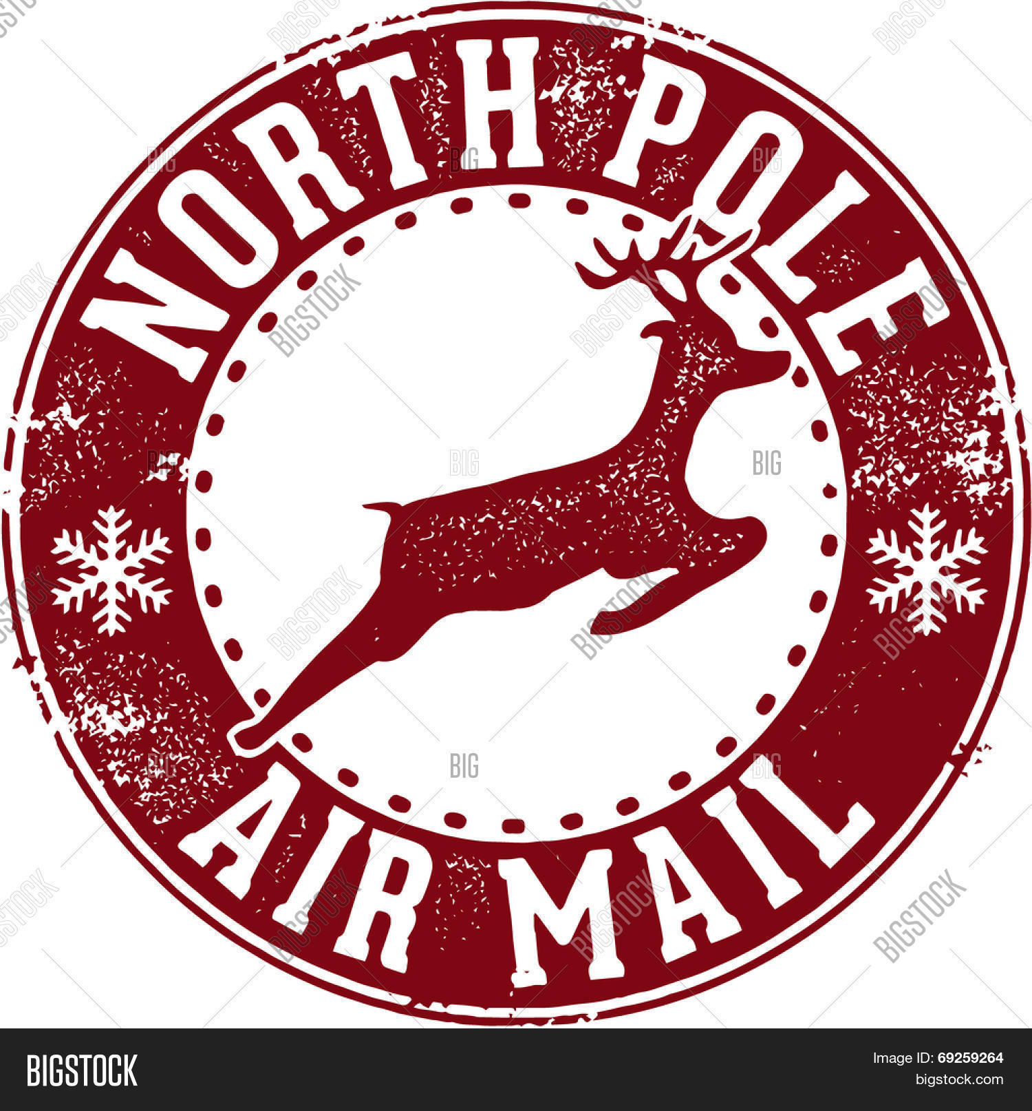 North Pole Air Mail Christmas Santa Stamp Stock Vector & Stock ...