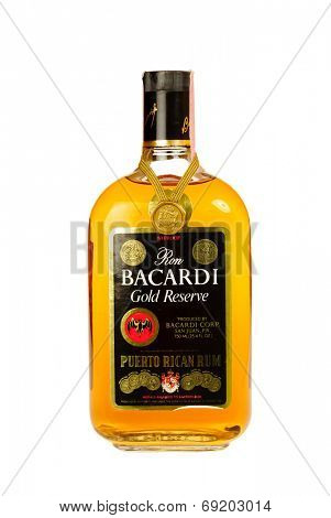 Hayward, CA - July 28, 2014: Bottle of Ron Bacardi Gold Reserve Puerto Rican Rum