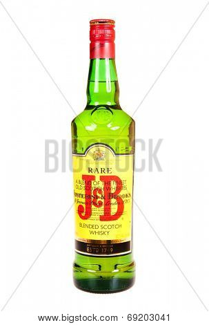 Hayward, CA - July 27, 2014: 750ml  Bottle of J&B blend of fine old Scotch Whiskies, by Justerini & Brooks