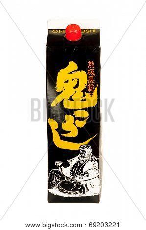 Hayward, CA - July 28, 2014: 1.8 liter container of  Onikoroshi Saki
