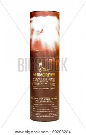 Hayward, CA - July 28, 2014: 1 Liter bottle in packaging of Ardmore Highland Single Malt Scotch Whisky - Traditional Cask