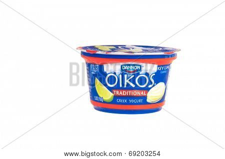 Hayward, CA - July 27, 2014: Container of Dannon brand - Oikos Traditional Greek style yogurt with Key Lime flavoring