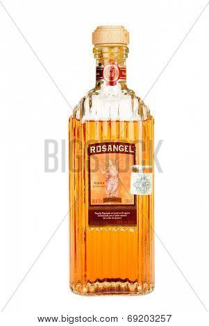Hayward, CA - July 28, 2014: 750 ml bottle of Rosangel Tequila reposado