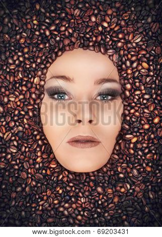 Girl Immersed In Coffee Beans