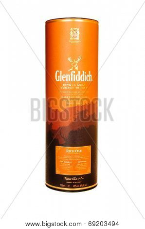 Hayward, CA - July 28, 2014: Container of Glenfiddich Rich Oak SIngle Malt Scotch Whisky, matured in American and Spanish Oak for 14 years.
