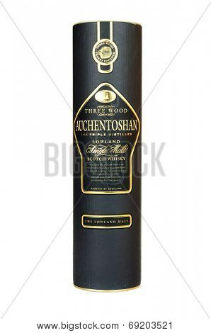 Hayward, CA - July 28, 2014: Container of Auchentoshan three wood Lowland SIngle Malt Scotch Whisky