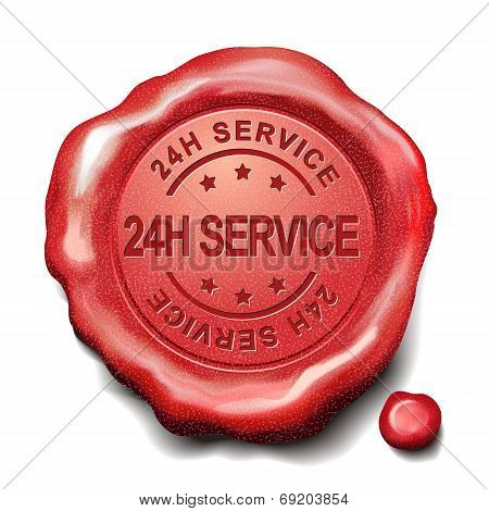 24H Service Red Wax Seal