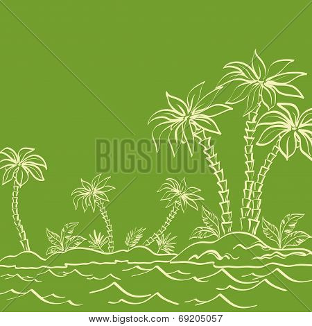 Sea island with palm trees contours on green