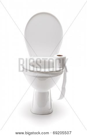 Roll of toilet paper on a toilet seat isolated on white background