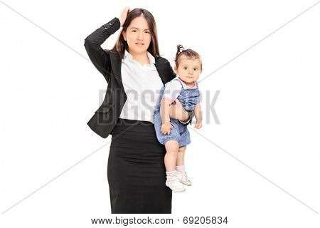 Young mother holding her baby daughter isolated on white background